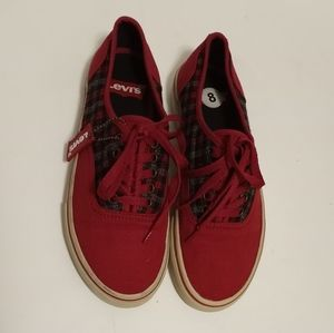 Levi's Men's Red Canvas Sneakers Size 8